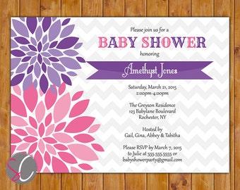 Flower Baby Shower Invite Pink Purple  Invitation Floral Burst Chevron Girl Shower Twins It's a Girl Printable 5x7 Digital JPG File (424)