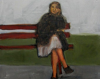 FIGURE ART FIGURATIVE Park Bench Woman Girl Women Colette Davis Abstract Giclee print from my original oil painting -  Art