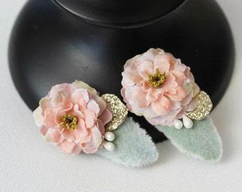 Vintage Blush floral hair clip   Hair Accessory   Ready to Ship  