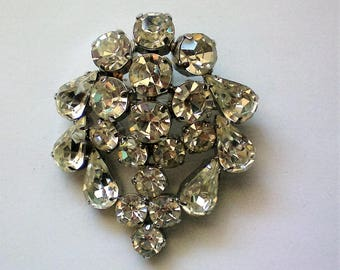 Glittering Rhinestone Tear Drop and Round Stone Brooch - 5297
