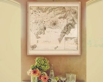"Map of Naples and Amalfi Coast 1828, 4 sizes up to 36x36"" 90x90cm Napoli, Capri, Sorrento, Positano, Amalfi - Limited Edition of 100"