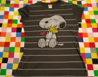 Snoopy and Woodstock Striped T-Shirt 1980's Peanuts