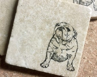 English Bulldog Coasters ~ Coasters  ~  Dog Coasters ~ Stone Coasters  ~ Housewarming Gift~ Pet Coasters ~ Bulldog Gift