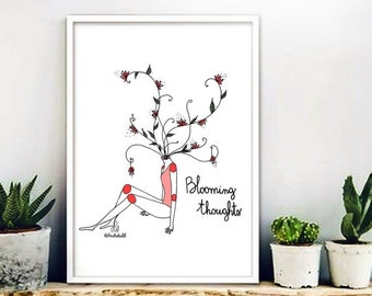 """A4 print """"Blooming Thoughts"""""""