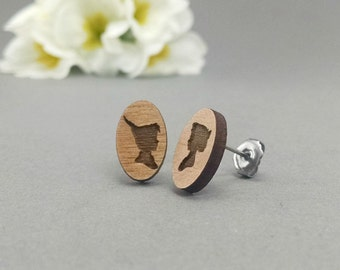 Disney Peter Pan and Wendy Darling Earrings Silhouette - Laser Engraved Wood Earrings - Hypoallergenic Titanium Post Earring Pair