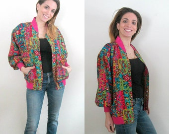 1990s Silk Bomber Baseball Jacket Kriss Kross Colorful Abstract Design Chic Grunge