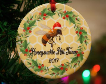 Honey bee ornament, bee keeper ornament, bee keeper gift, honey, honey bees, apiary, honey bees Christmas ornament
