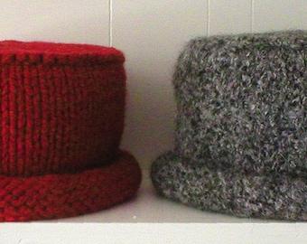 Knitting Pattern-Pillbox with Roll Brim, knit felted hat pattern, ladies, women's, girls, PDF pattern
