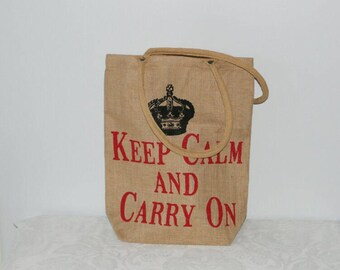 Jute Bag, Ökotasche, shopping bag, keep calm and carry on