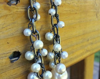Gunmetal and Pearl drop cluster Earrings