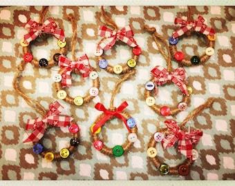Handmade Mini Button Twine Wreath Ornaments