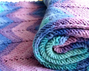 knit baby blanket, turquoise blue pink, cotton and acrylic