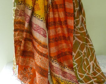 Vintage silk Kantha, FREE SHIPPING, wrap, large silk scarf, reversible, orange yellow and brown, table runner, home decor, furniture cover