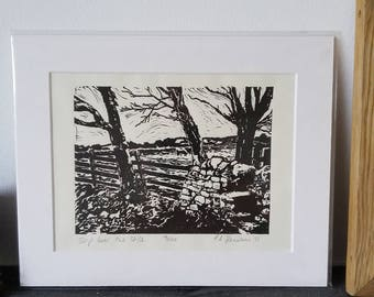 Step Over the Stile - limited edition lino print