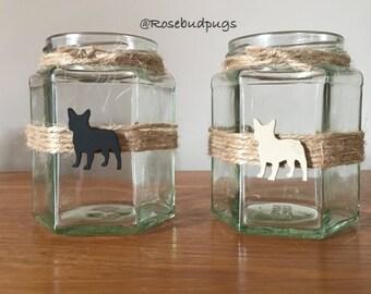 Handmade French Bulldog Jars/Tea Light Holders x 2