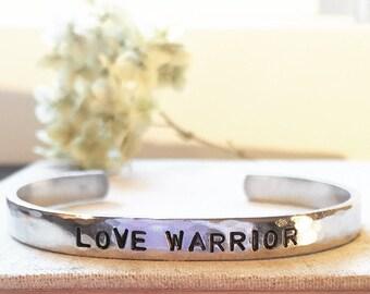 Love Warrior -Hand Stamped Cuff Bracelet - Silver, Aluminum