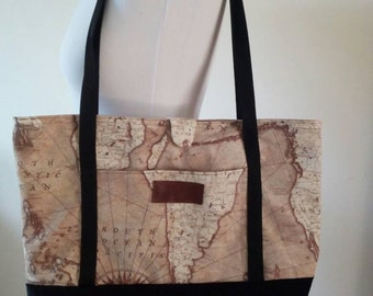 Large world map handbag