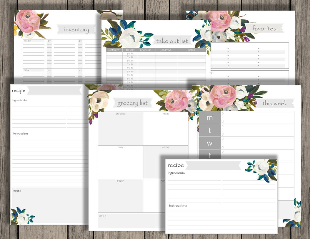 Meal Planning and other Kitchen printables - grocery list, food ...
