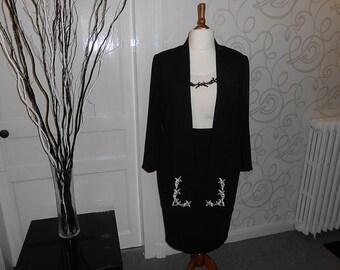 Skirt Suit, 3 Piece Skirt Suit, Black Suit, Womans Suit, Vintage Suit, Skirt and Jacket, Womens Vintage, Skirt Suit
