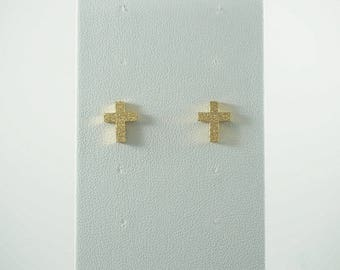 Stainless Steel Textured Cross Earrings TWO COLORS. WHITE
