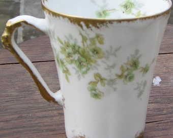 Limoges Tea Cup Green Roses and Gold