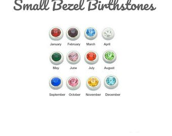 Birthstone Floating Charm for Glass Locket, 4MM SMALL BEZEL Set Charms for Memory Lockets, Personalized Floating Locket Pendant Charm.