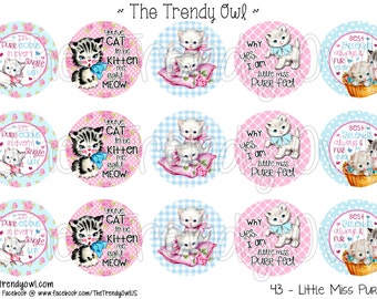 "Vintage Kittens Digital Bottle Cap Images - INSTANT DOWNLOAD - Little Miss Purrfect- 1"" Bottle Cap Images 4x6 - 43"