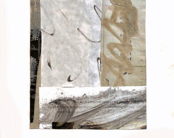 """The Handwriting on the Wall - Collage with Hand Painted Papers 4.75 x 5.75"""" on 7 x 9-1/2"""" backing"""