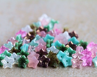 Turquoise & Pink Glass flower beads mix, Czech glass flower beads, 5-petal Trumpet Flower beads, 6x9mm (66pcs) NEW