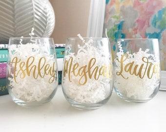 Bridesmaid Wine Glasses | Stemless Wine Glass | Bridesmaid Gift | Bridal Gift | Personalized Wine Glass