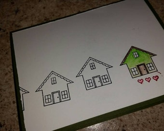 Congrats on new home, home is where the heart is, housewarming card, new home card, moving homes, home warming card