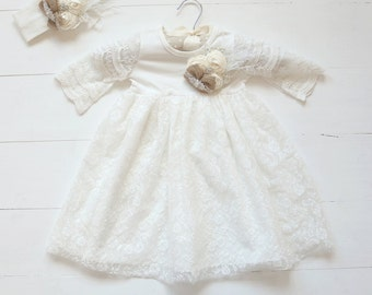 Shabby Chic Lace Christening Dress, Girls Baptism Gown, Country Christening Dress, Rustic Baby Dress, Baptism Dress, Lace Baptism Dress