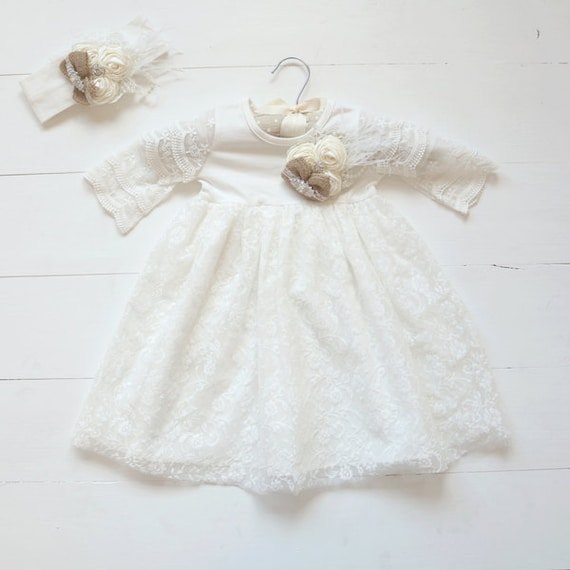 Shabby Chic Lace Christening Dress Girls Baptism Gown