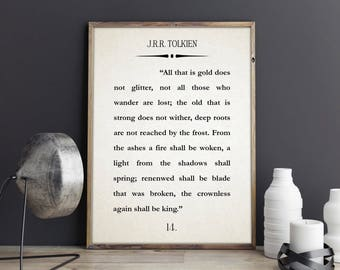 J.R.R. Tolkien Book Wall Art Lord of the Rings Poster The Fellowship of the Ring Wall Art Literary Quote Literature Quote