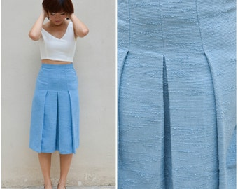 1960 Vintage Skirt/ Oceanic Sky Blue Skirt/ Small Skirt/ Pleated Skirt/ Midi Skirt/ Chic Skirt/ Summer Skirt/ Playful Skirt/ Textured Skirt