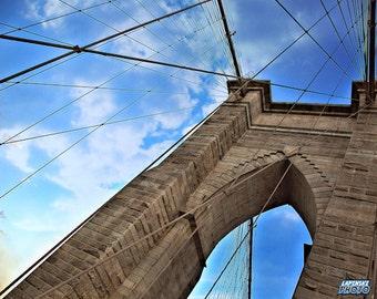 "Brooklyn Bridge New York City Photograph, Color Photography, NYC Photo, Wall Art, Art Print, Close Up, ""Beautiful Day On The Bridge"""