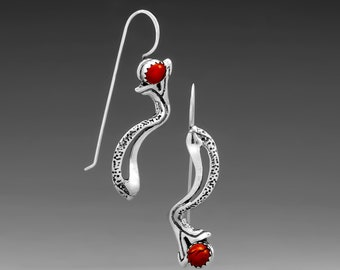 River Run Sterling Silver Hook Earrings, Red Jasper