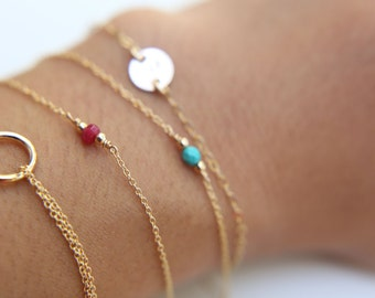 Dainty Bracelet with tiny Gem stone - Sterling silver and Gold filled  EB009