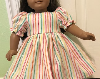 Brite Stripes dress for American Girl or Other 18 inch Doll