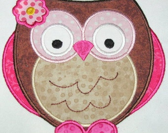 Owls So Pink 01 Machine Applique Embroidery Design - Owl Applique Design - Owl With Flower Applique Design - Pink Owl Applique Design