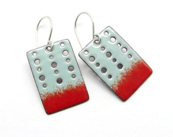 Turquoise Blue and Red Rectangle Earrings - Handmade Enamel Jewelry with Sterling Silver Earwires - Birthday Gift for her