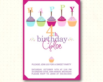 Kids Birthday Party Invitation, boy, girl, cupcakes, 1st, 2nd, 3rd, 4th, 5th, 6th, 7th, 8th, 9th, 10th, digital, printable invite K62451