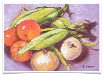 southern veggies. fine art print. corn. tomatoes. onions. food. kitchen art. still life. vegetables. original art. traciebrownart.