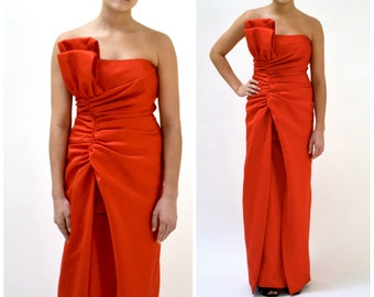 Red evening dress etsy 80s vintage red strapless dress gown size small by victor costa neiman marcus 80s junglespirit Images