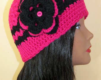 Women winter Beanie Hat/ ONE SIZE.Hotpink and Black ,Womens accesories.