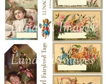 FAIRYLAND TAGS digital collage sheet, Vintage Flower Fairies, Victorian cards children, printable tags altered art images, ephemera DOWNLOAD