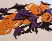 Party Confetti - Halloween party confetti, 60 pcs,  pumpkin confetti, bat confetti, witch hat confetti, halloween party decor