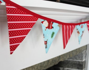 Christmas Banner, Fabric Holiday Bunting, Flags Pennants, Santa Claus, Decor Snowman, Reindeer Decorations Candy Cane Red Blue Garland