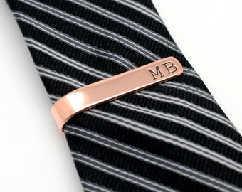Copper Personalized Tie Clip - Custom Tie Clip - Monogram Tie Clip  -Engraved Tie Bar - Gift for Men - Groomsmen Gift - Wedding Accessory
