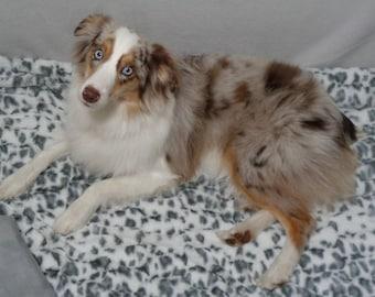 Minky Fur Blanket - 30 x 30 - Dog Blanket - Leopard minky fur - Personalized Dog Blanket -  Includes Embroidered Personalization